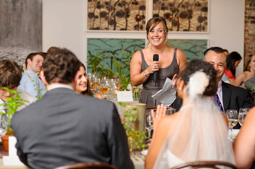 maid of honor gives a speech at longview gallery wedding