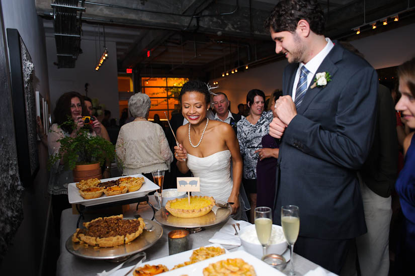 pie cutting during wedding reception