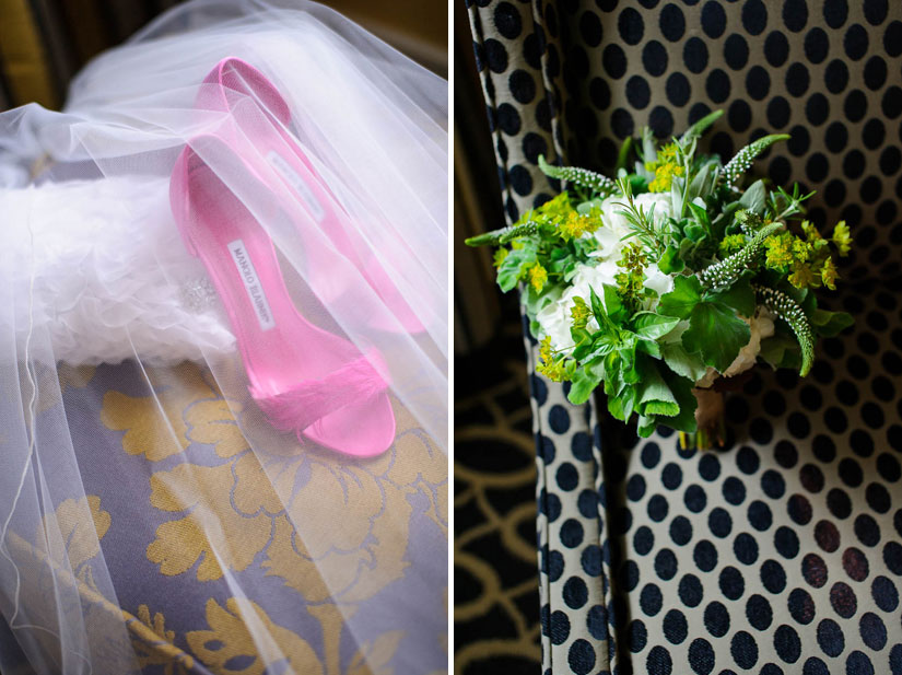 pink manolo blahniks and green bridesmaid bouquet