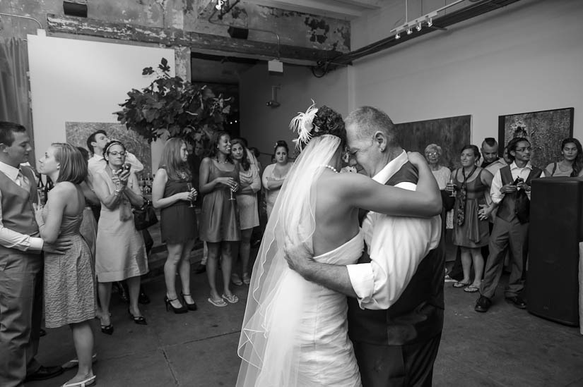 dancing with her stepfather at the longview gallery wedding