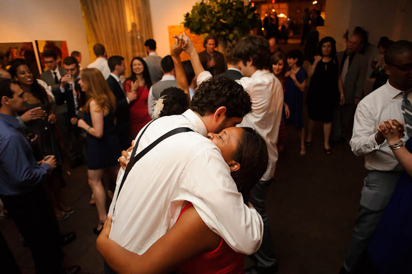 hugging during the wedding reception at longview gallery