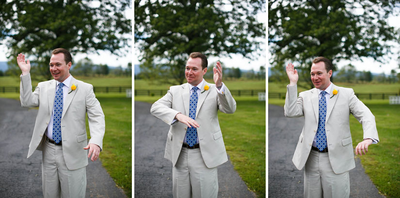 groom making funny motions at marriott ranch