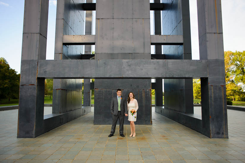 weird architectural wedding portraits at netherlands carillon