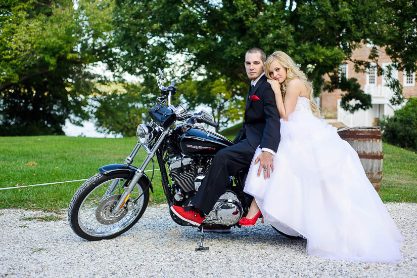wedding photography with a motorcycle