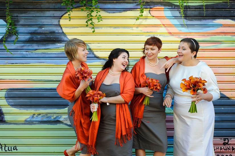 orange and gray bridesmaids at longview gallery wedding