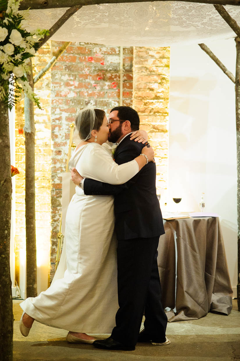 first kiss at longview gallery wedding