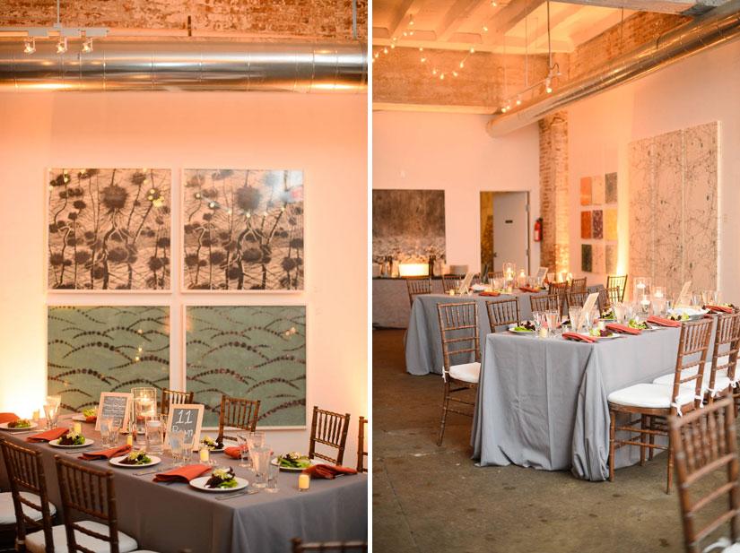 orange and gray decor at longview gallery wedding