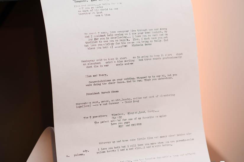 typewriter guestbook at longview gallery wedding