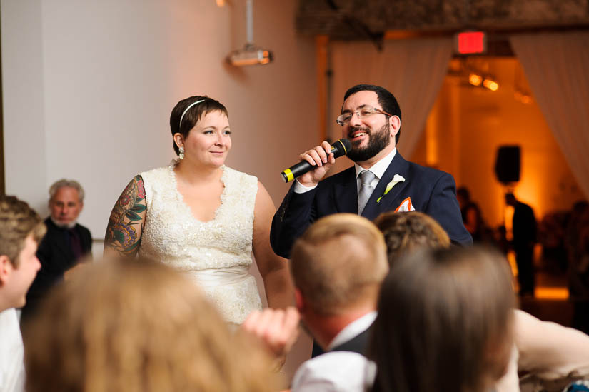 giving a toast at longview gallery wedding reception