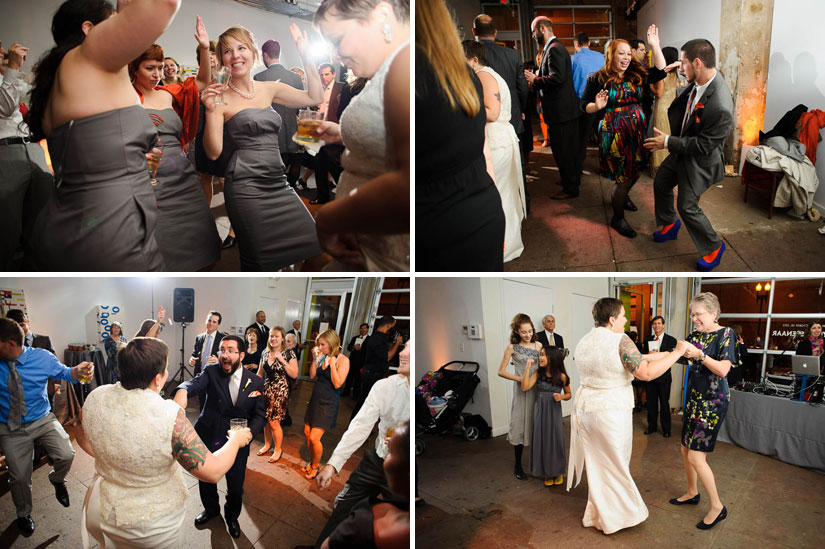 dance party at longview gallery wedding reception