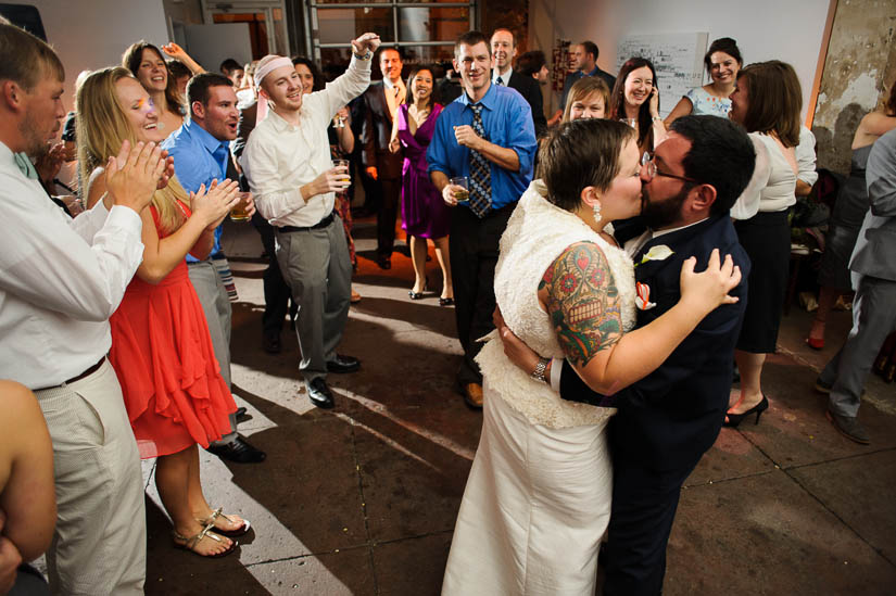 bride and groom kissing at the end of the night at longview gallery in dc