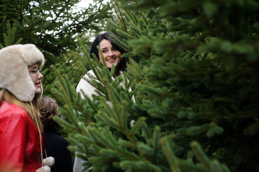walking through the christmas trees during family photo shoot