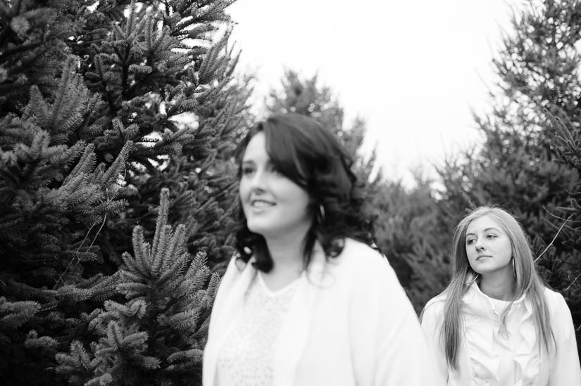 teenagers at christmas tree farm