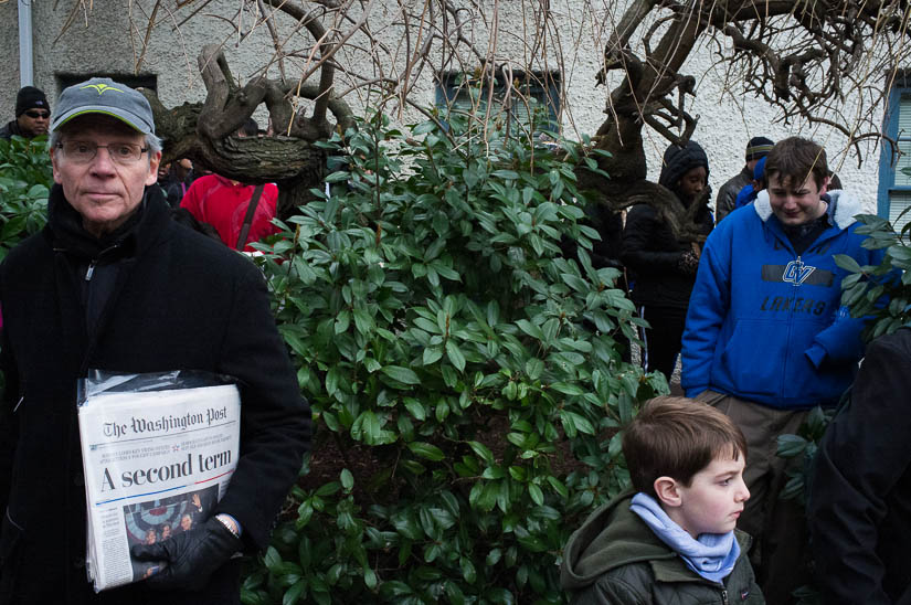people cutting through the bushes during the 2013 inauguration
