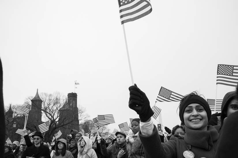 people smiling during the presidential inauguration