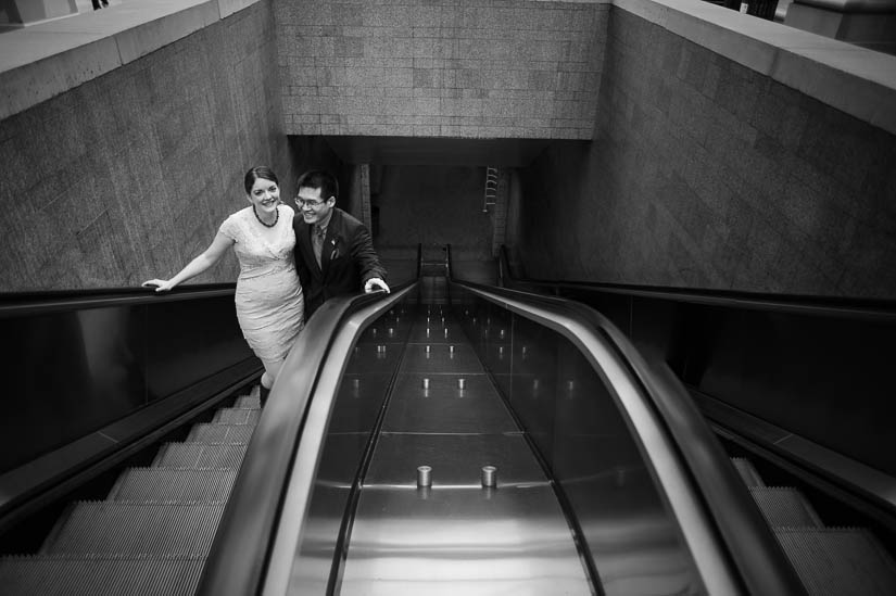 wedding pictures on a metro escalator