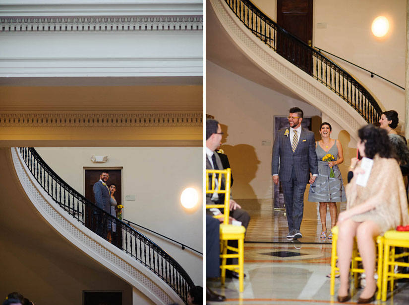 groom entering the wedding at carnegie institution for science
