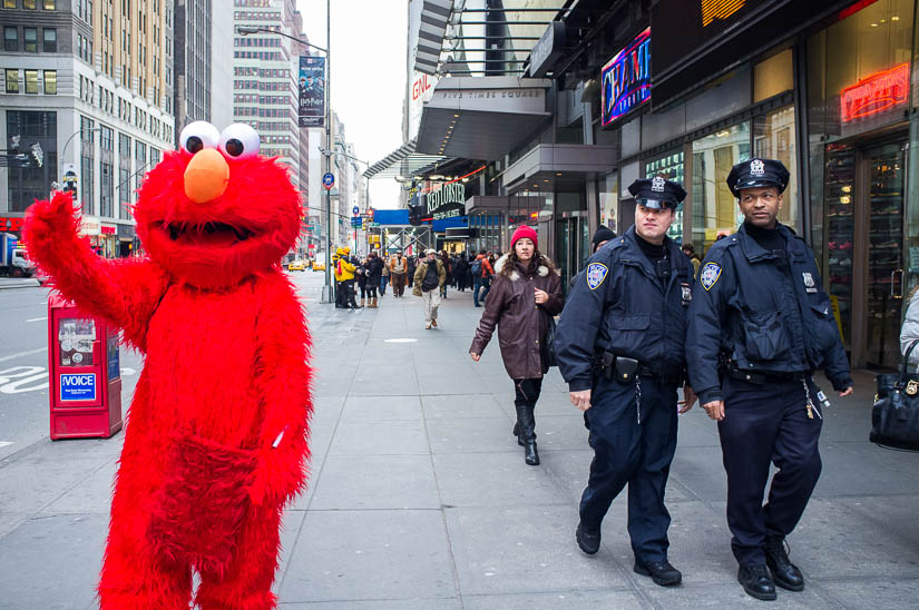elmo and NYPD cops