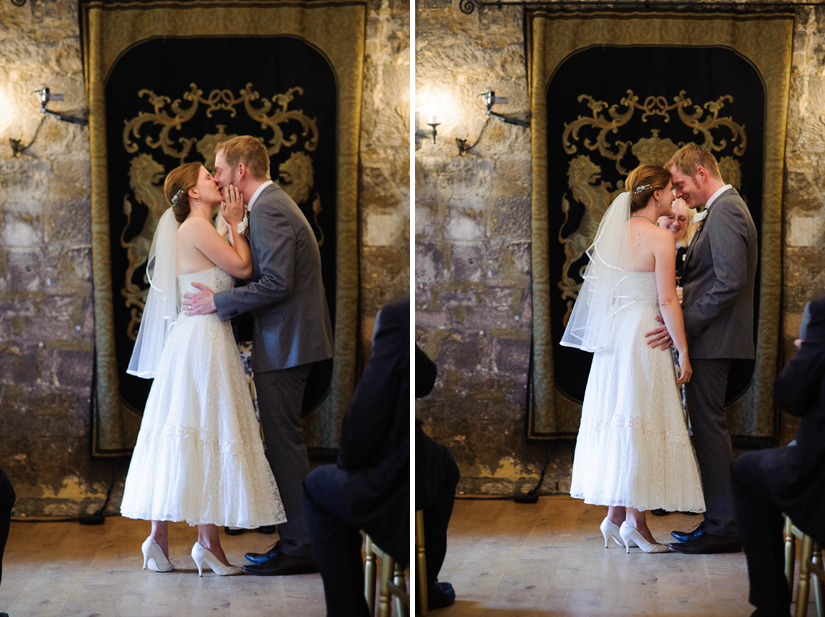 first kiss at north yorkshire england wedding