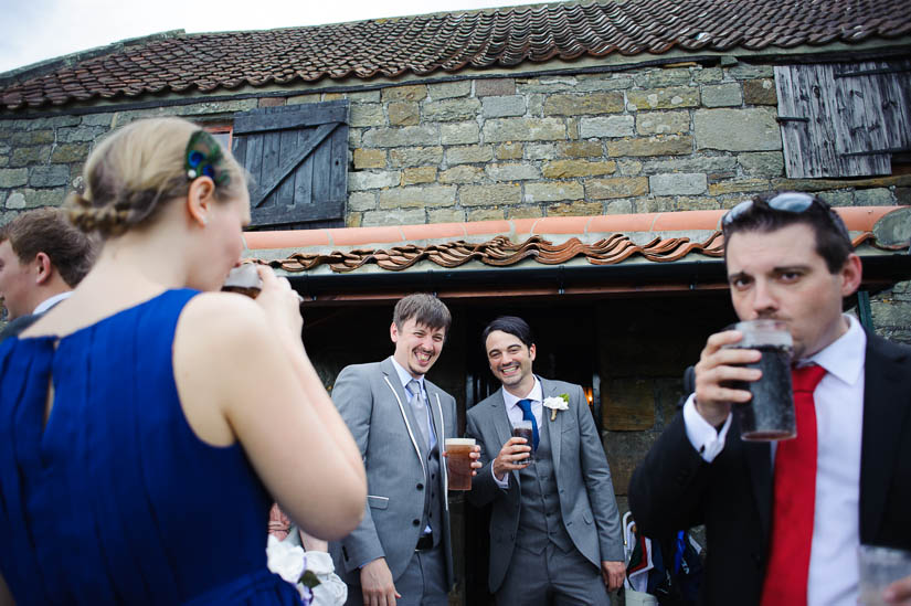guests laughing at danby castle wedding