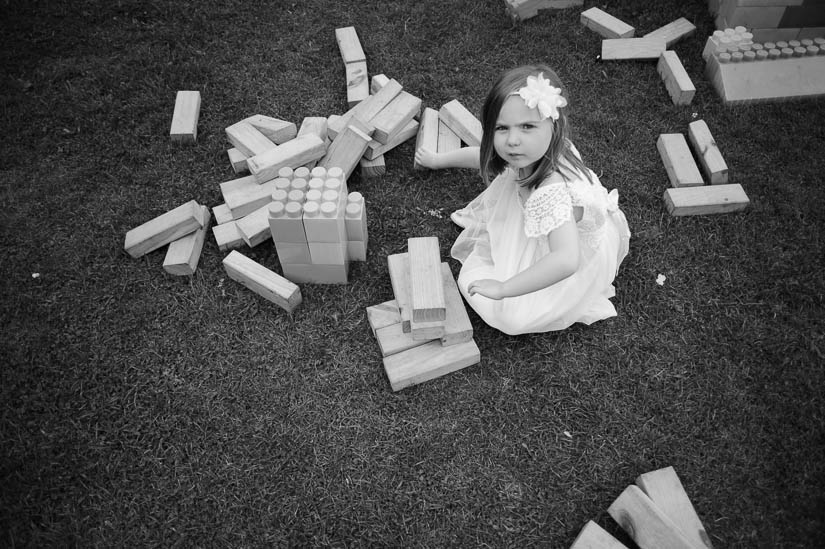 little girl playing with blocks at danby castle wedding