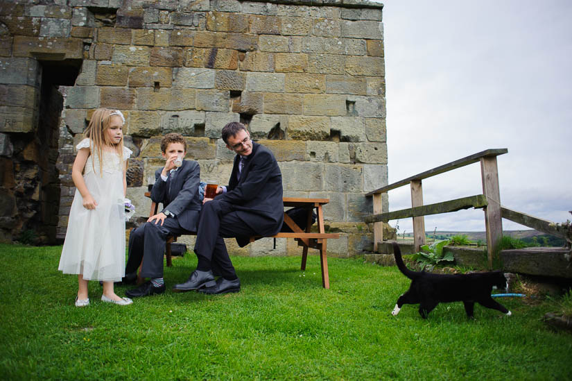 watching the cat go by at danby castle wedding