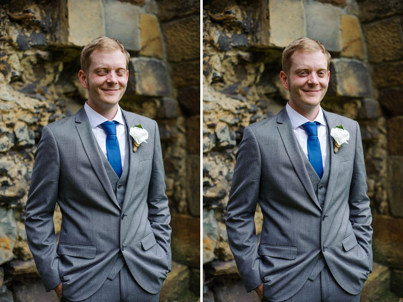 portrait of the groom at danby castle wedding