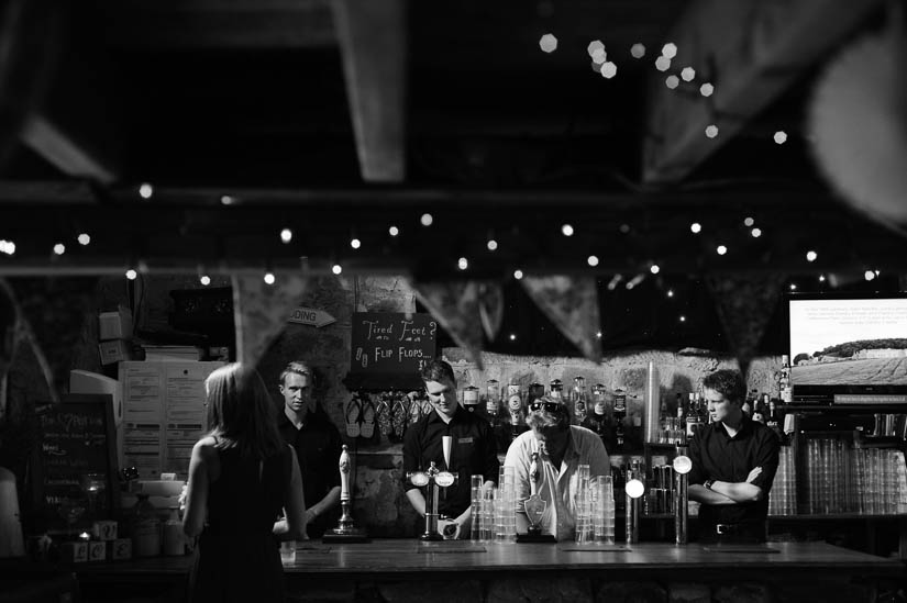 bartenders at danby castle wedding reception