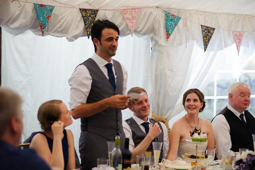 best man making a speech at danby castle wedding