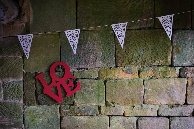 love decorations at danby castle wedding