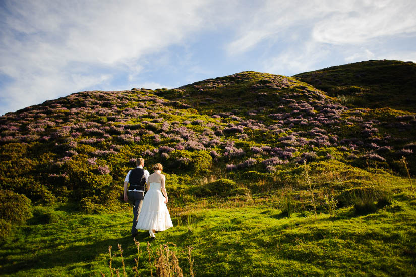 bride and groom portraits in the heather