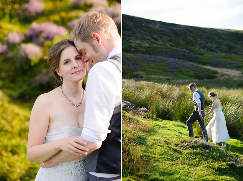 bride and groom photos taking in the heather in the english countryside