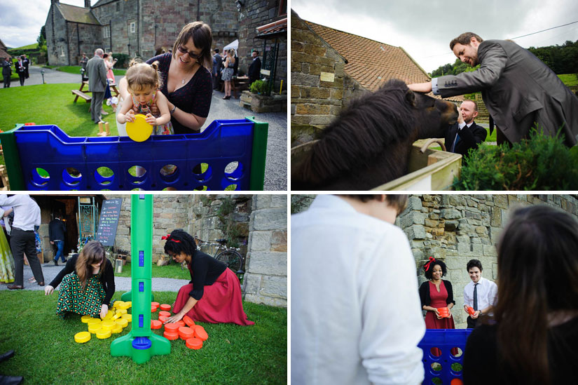 playing with lawn games at danby castle wedding
