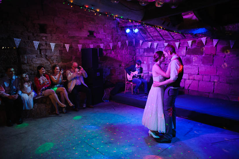 first dance with purple dj lights
