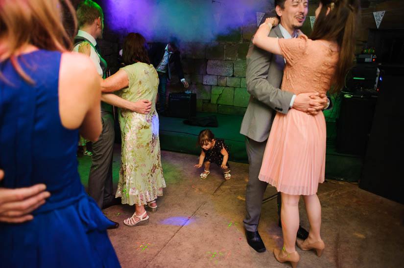 little girl dancing at danby castle wedding