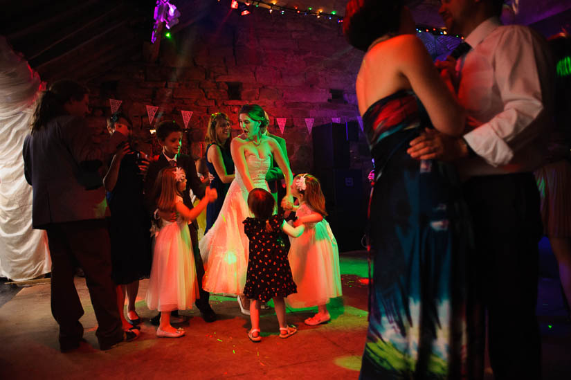 bride dancing with the kids at danby castle wedding reception
