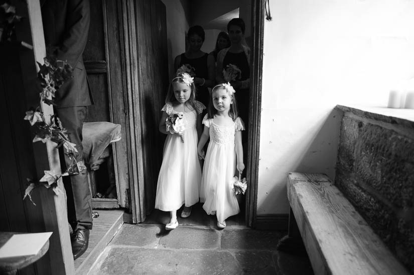 flower girls at danby castle wedding