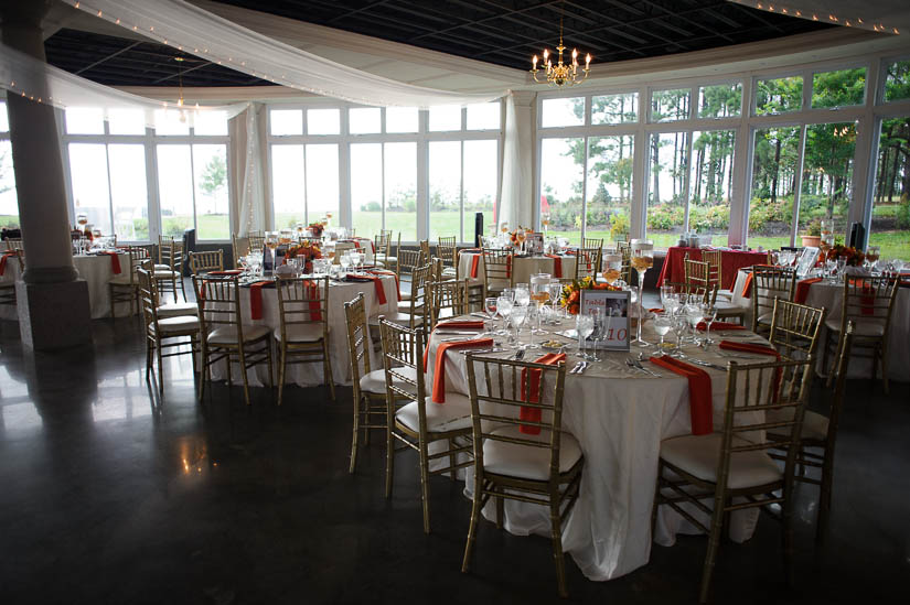 beautiful beach and orange wedding decorations