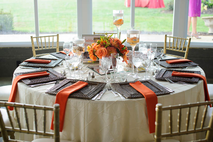 orange and brown wedding decor