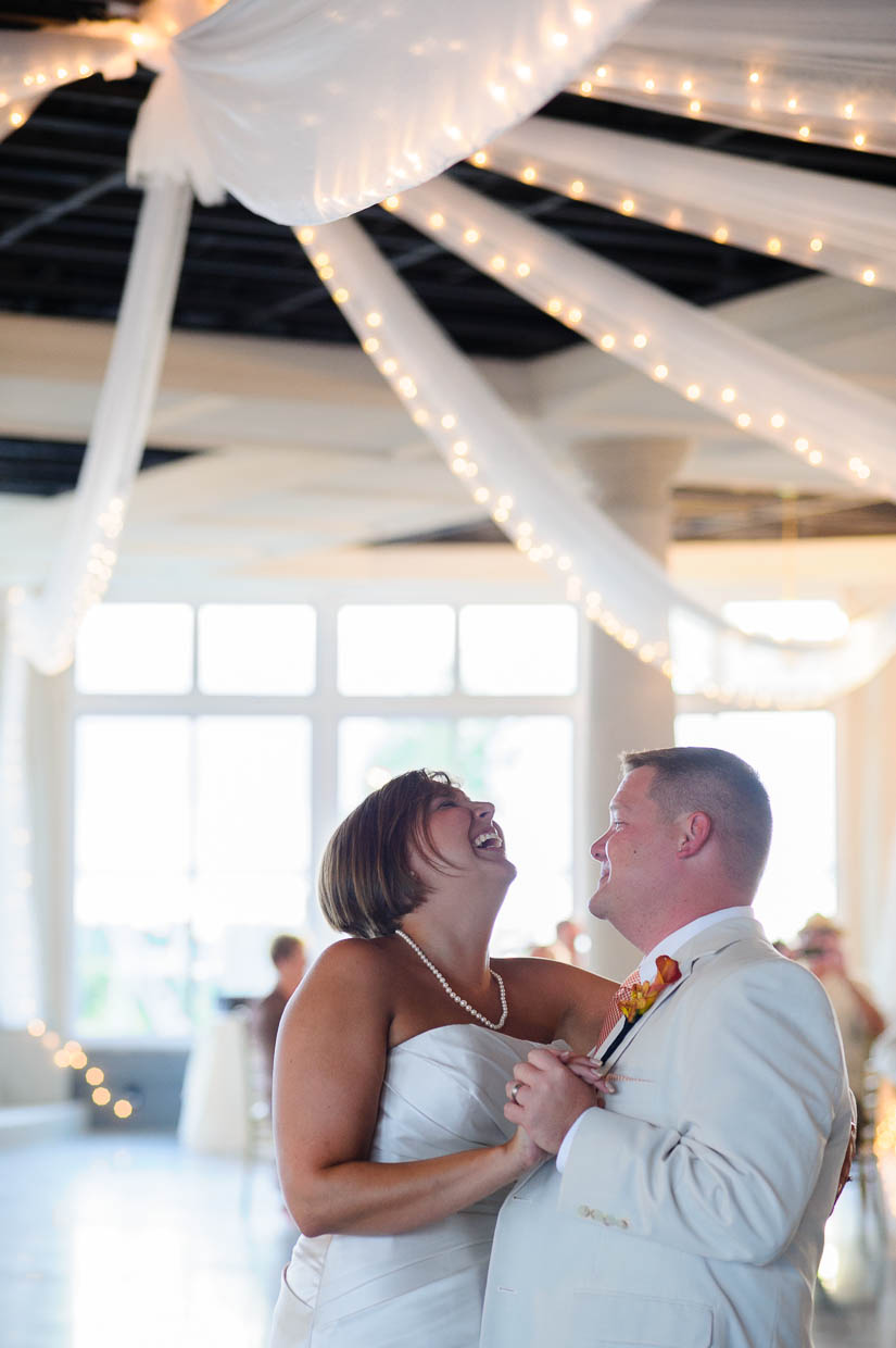 laughing during the first dance at maryland eastern shore wedding