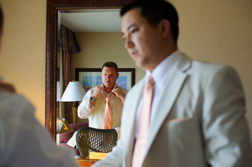groom getting ready at eastern shore wedding