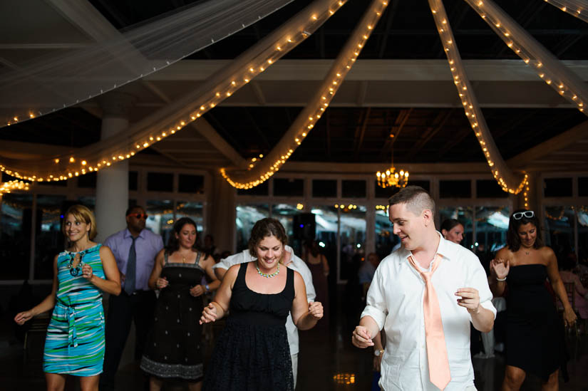 group dancing at maryland's eastern shore wedding