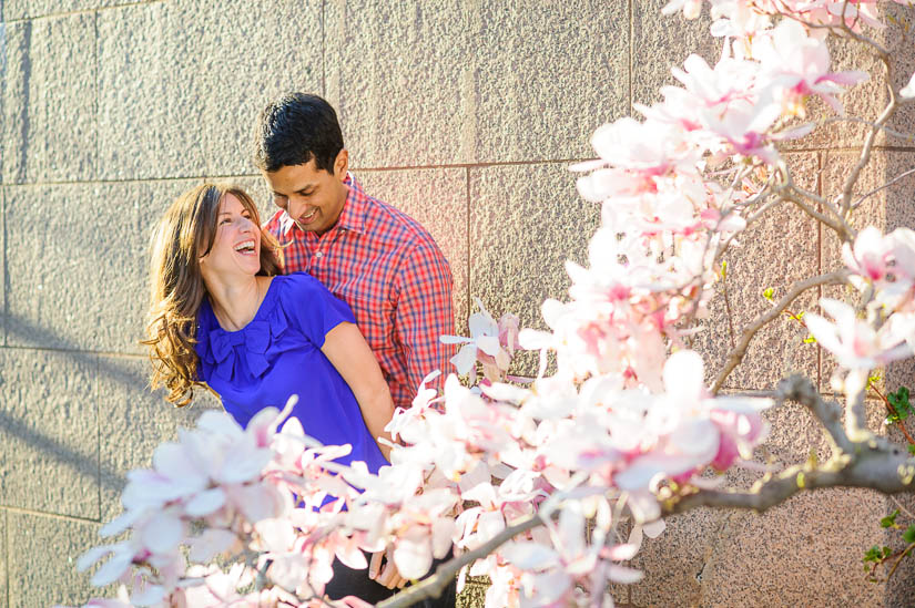 engagement photos with blooming magnolias
