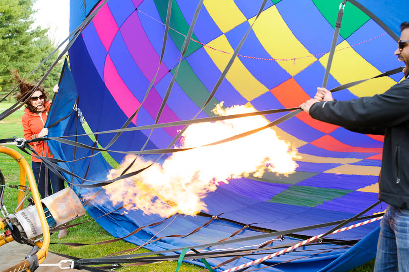 first blast of flame at hot air balloon engagement shoot