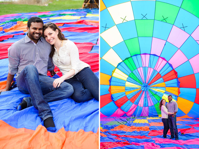engagement portraits with a hot air balloon