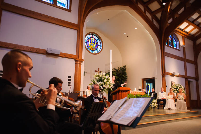 artistic wedding photos with Loyola Blakefield church band