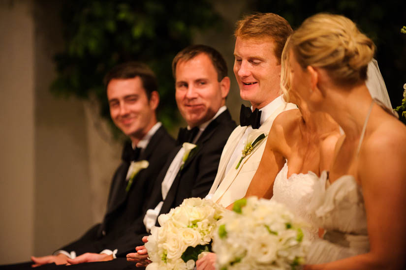 groom laughing during Loyola Blakefield church wedding