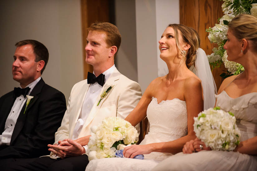 bride fighting back tears at Loyola Blakefield church wedding