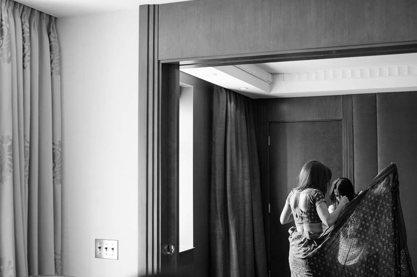 bride gets ready at the sofitel in washington dc