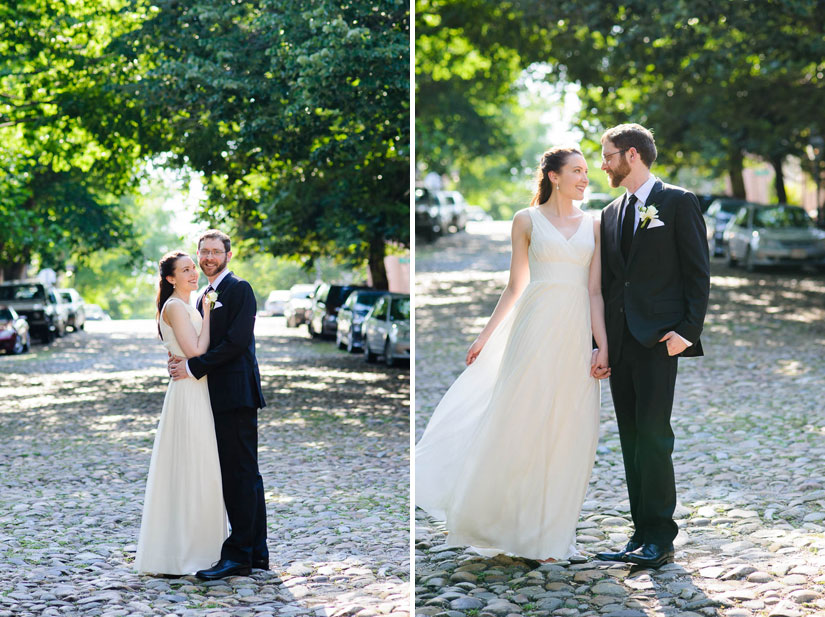 wedding portraits on prince street in old town alexandria